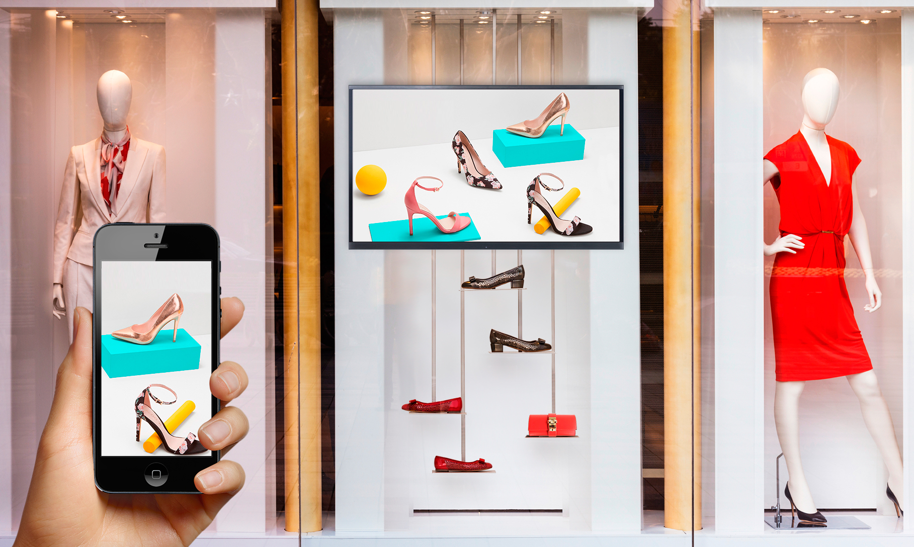 In-store engagement on a shopping window by RetailerIN In-store analytics