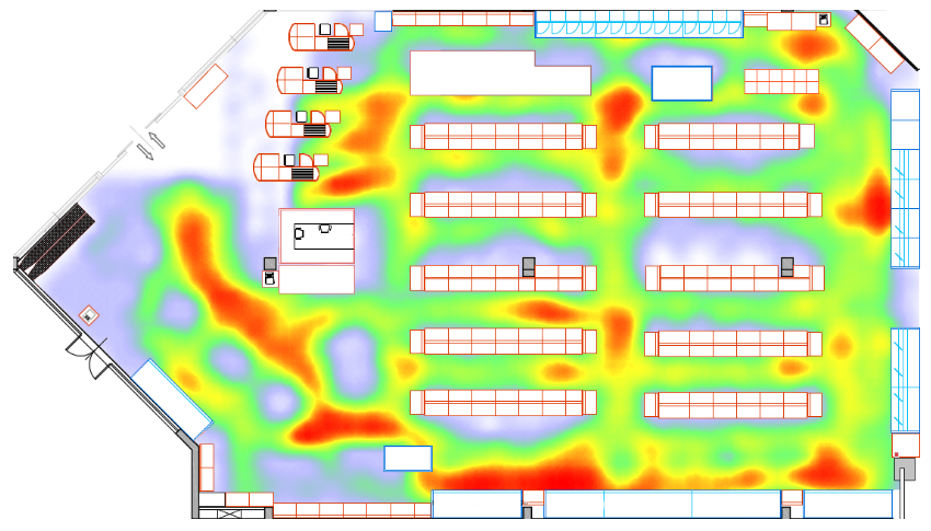 Heatmap produced by RetailerIN interior analytics